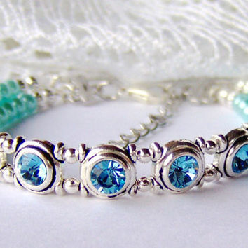 Aquamarine rhinestone and light blue pearl double strand bracelet