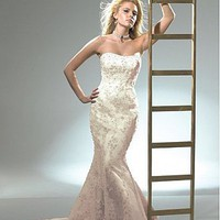 Buy Elegant Exquisite Tulle Mermaid  Strapless Neckline Wedding Dress with Lace Appliques,Beadings and Manmade Diamonds