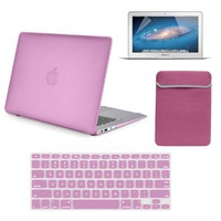 """4 in 1 Kit For Macbook Air 13"""" A1369 A1466-Rubberized Matte Frost Hard Shell Case + Screen Protector + Sleeve- Baby Pink"""