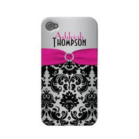 Personalized Pink, Black, Silver Damask Case-mate Iphone 4 Cases from Zazzle.com