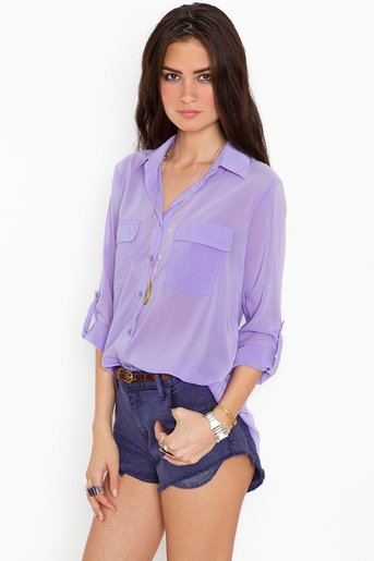 Chloe Pocket Blouse - Lilac in Clothes Tops Shirts + Blouses at Nasty Gal