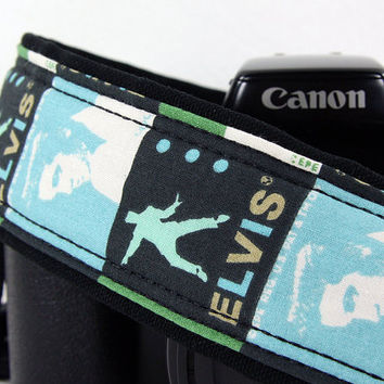 Elvis Camera Strap, dSLR, SLR, Baby Blue, Green, Black, 180