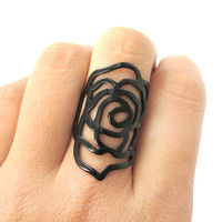 Large Classic Floral Rose Dye Cut Shaped Ring in Black | DOTOLY -
