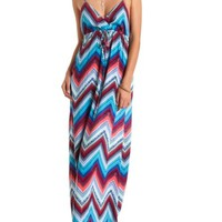 Tribal Chevron Print Surplice Maxi Dress