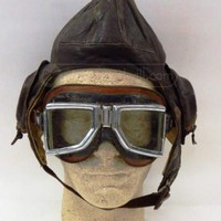 shopgoodwill.com - #16786919 - Vintage Leather Pilots Hat With Goggles - 6/12/2014 6:30:00 PM