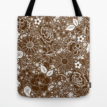 Botanical Beauties Brown Tote Bag by MargaretNewcombArt
