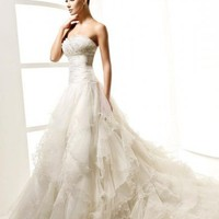Empire Waist Strapless Pressed Organza Wedding Dress Wedding Gown With Beading