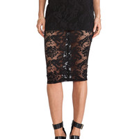 Nookie Renegade Lace Pencil Skirt in Black