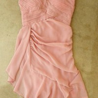 simple pink sweetheart chiffon evening dress