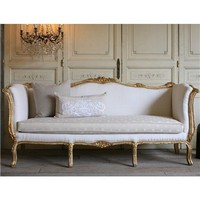 One of a Kind Vintage Daybed Louis XV Weathered Gilt