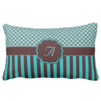 Monogram Tartan, Light Teal-Chocolate Brown Pillow