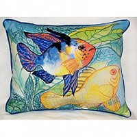 Betsy Drake Two Fish Pillow- IndoorOutdoor