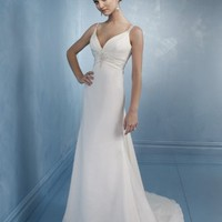 Gorgeous Column Spaghetti Straps Chiffon Wedding Gown Bridal Dress With Ruffles And Bead