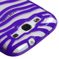 MYBAT Zebra Skin Gummy Case for Samsung Galaxy S3 - Clear/Purple