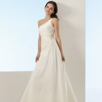 Gorgeous A-line One Shoulder Chiffon Wedding Gown Bridal Dress With Applique And Bead
