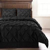 Emerson Black 4-Piece Pinch Pleat Puckering COMFORTER Mini Set QUEEN Size