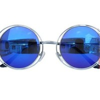 Unisex Metal Frame Round Shape Hollow Out Sunglasses Color Blue DP0604