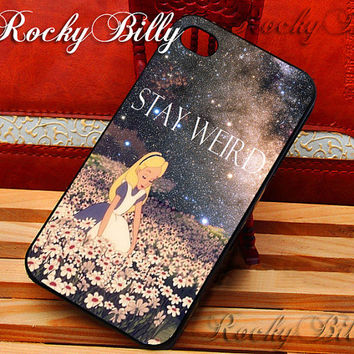 Stay Weird Alice in Wonderland Galaxy for iPhone 4/4s/5/5s/5c - iPod 2/4/5 - Samsung Galaxy s2/s3/s4/s5 - Black/White