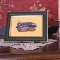 Train Locomotive Embroidery Framed Art SHIPPING INCLUDED
