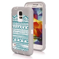 Galaxy S5 Case - SGM Dual Layer Protection High Impact Hybrid Armor Case For Samsung Galaxy S5/SV (Compatible with Verizon, AT&T, Sprint, T-Mobile Versions) - (Gray + White (Tribal))