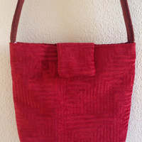 Red cotton Fabric Shoulder Bag