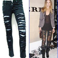 Celebrity emo punk rock destroyed ripped skinny slim fit women JEANS,S | eBay