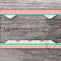 Custom Monogrammed Aztec License Plate Frame- Indie pattern with Soft Teal and Coral, personalized tribal license frame, front car tag