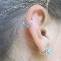 Lime Green and Blue Cartilage Hoop Earring Septum Tragus Nose Ring Upper Ear Piercing 20 Gauge