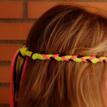 Neon headband adult - Neon pink headband - Neon yellow headband - Hippie head band woman - Braided fabric headband