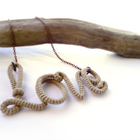 $29.00 Rustic Love Necklace Wrapped Crochet Tube by vanessahandmade