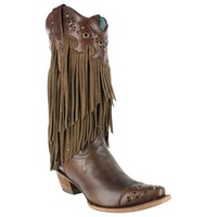 Corral Women's Fringe and Stud Snip Toe Western Boots