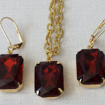 Topaz Madeira Bold Earrings with Vintage Class and a matching Necklace.