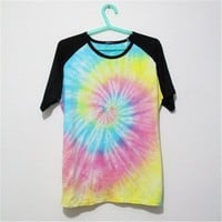 MP Mutilcolor Spiral Tie Dye Black Short Sleeve T Shirt 052835 T0610