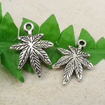 8 Marijuana Leaf Charms, 420, Hemp Charms, Cannabis Weed 21mm x 15mm C81