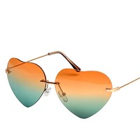 Heart Shape Synthetic Resin Lens Sunglasses With Metal Bridge Detail 052222 S0606 Color Orange