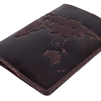 "Handmade Premium leather passport cover ""World Map 3D Print"" International format, 133*192 mm"