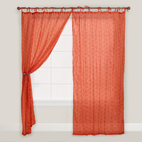 Rust Japanese Wave Print Curtain - World Market