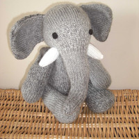 Malcolm the hand knitted jointed elephant light by scunjeebabe