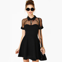 Sexy Black Hollow Gauze Lace Cocktail Prom Party Evening Mini Dress Womens