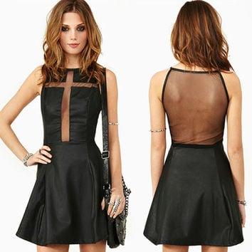 Sexy Black Cross-Shaped Gauze Backless Cocktail Party Mini PU Dress Womens