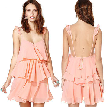 New Sexy Summer Loose Chiffon Backless Short Mini Pink Tiered Dress Womens