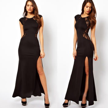 New Sexy Black Elegant Slim Long Maxi Lace Gown Cocktail Party Dress Womens