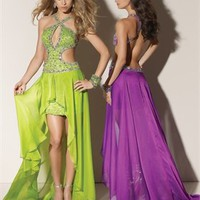 Halter straps sweep train beaded green/purple Evening Dresses 2012 EDM056