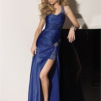 Off-the-shoulder scoop beaded blue/fuchsia satin Evening Dresses 2012 EDM054