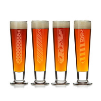 Tie Beer Glasses - Set Of 4