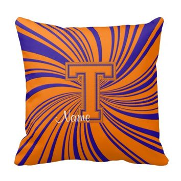 School Colors Monogram Pillow Orange-Blue T