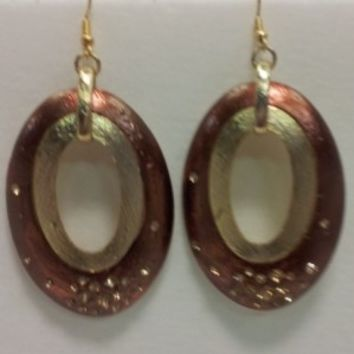 Copper Oval Earrings