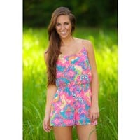 It's Totally Rad Romper-Hot Pink