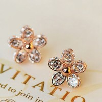 Intriguing Full Rhinestone Flower Earrings