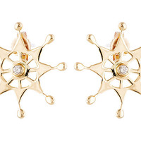 18K Gold & Diamond Snowflake Earrings